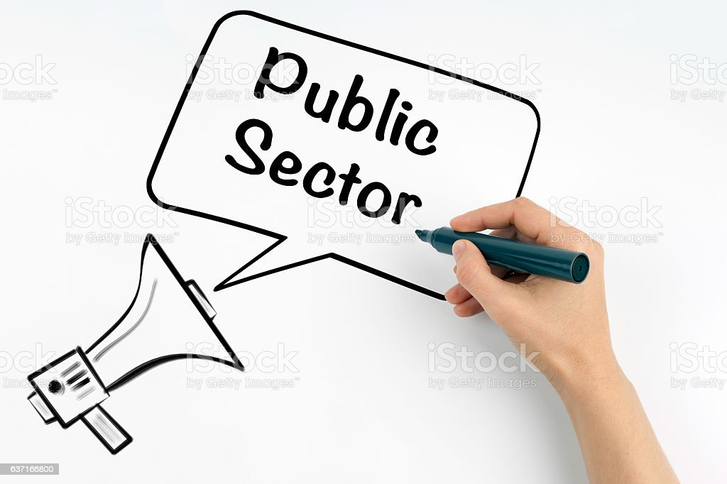 Public Sector. Megaphone and text on a white background. stock photo