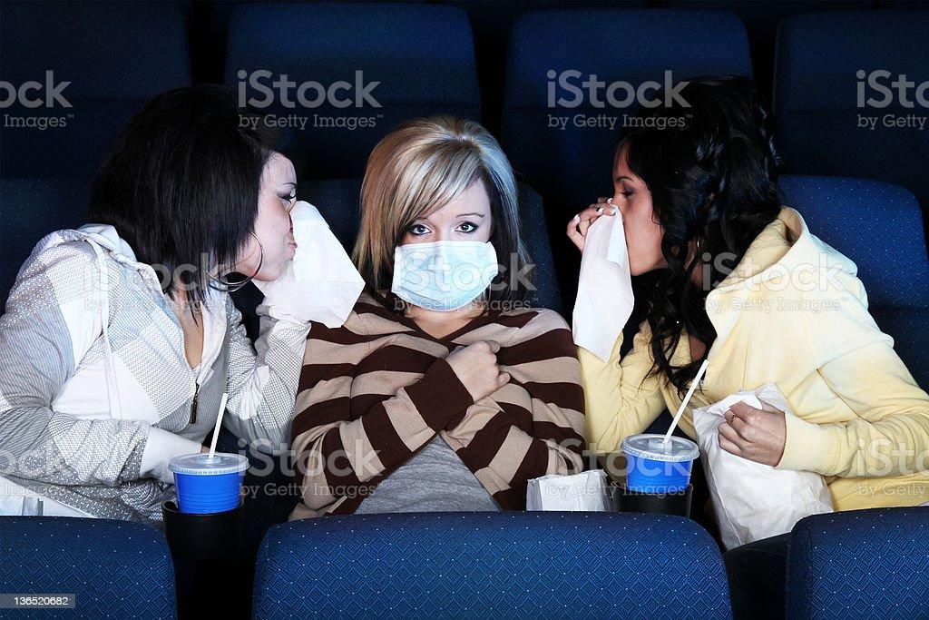 Public sickness H1N1 at theatre stock photo