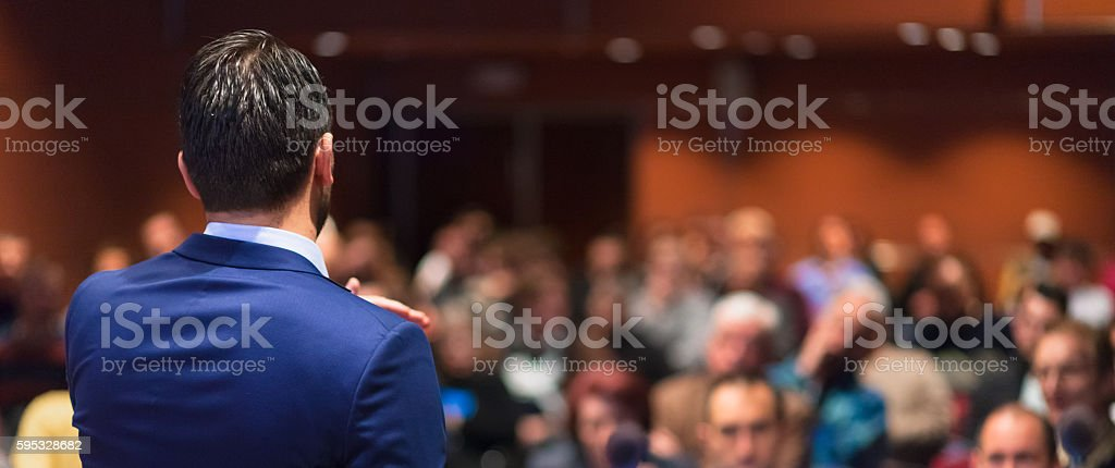 Public speaker giving talk at Business Event. royalty-free stock photo