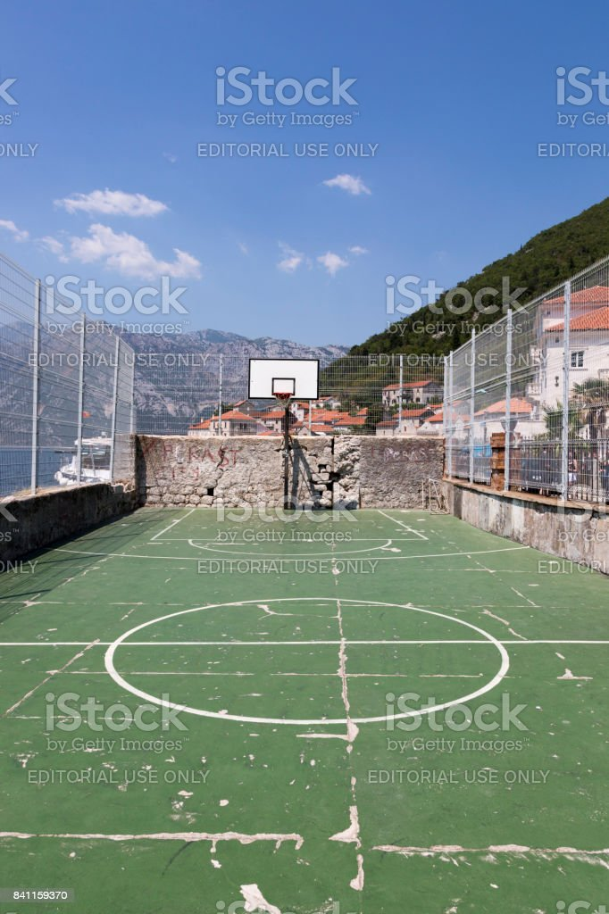 Public sports ground in the city of Perast, Montenegro. stock photo