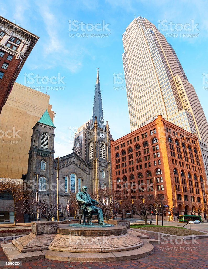 Public Square in Downtown Cleveland Ohio USA stock photo