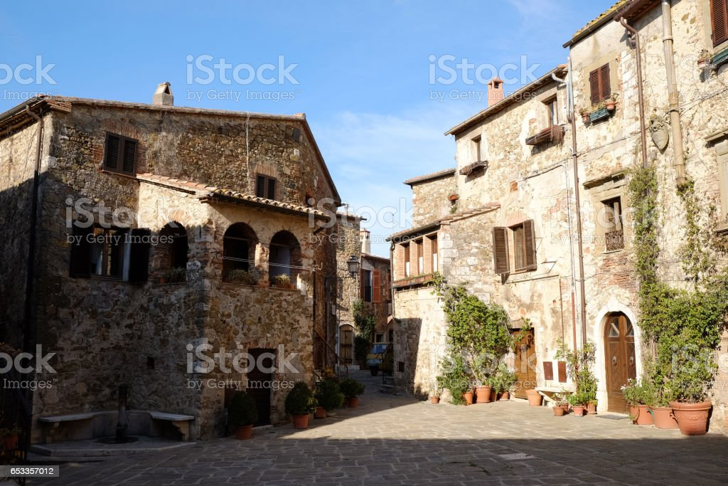 Public Square in Tuscany Italian Village stock photo