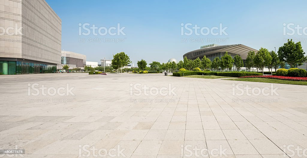 public square with empty road floor in downtown stock photo