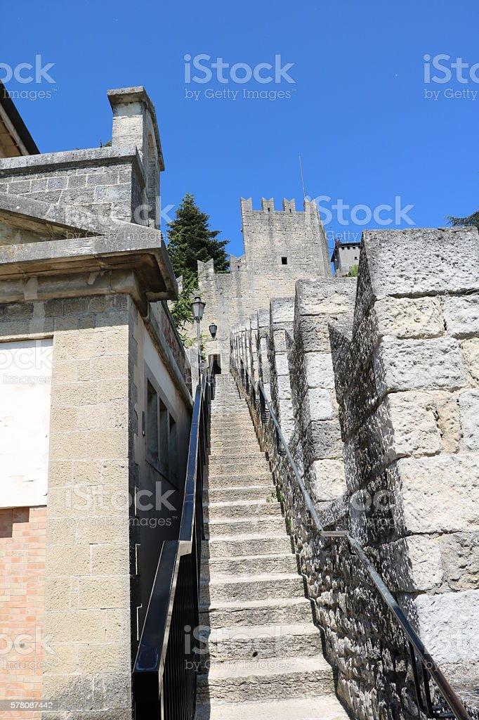 public stairs along the city walls of San Marino City stock photo