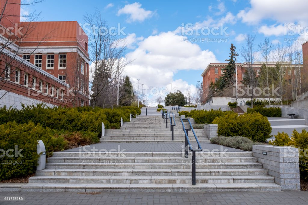 Public stairs on a university campus stock photo