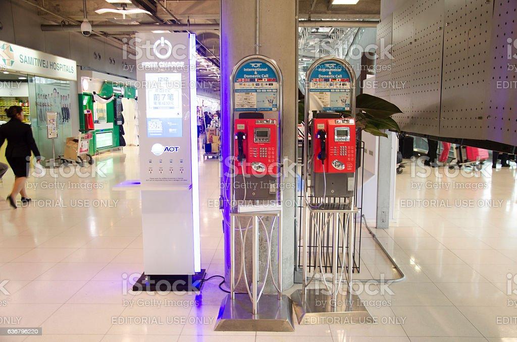 Public telephone in Suvarnabhumi Airport stock photo