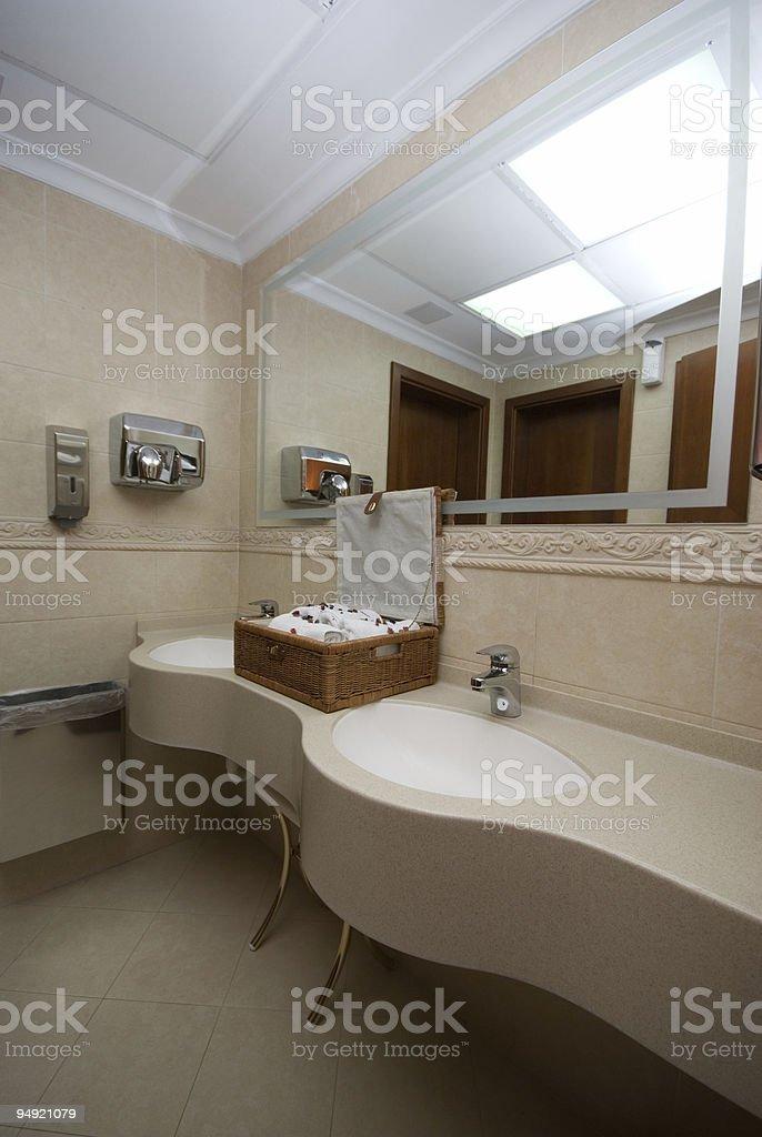 Public toilet accessories stock photo
