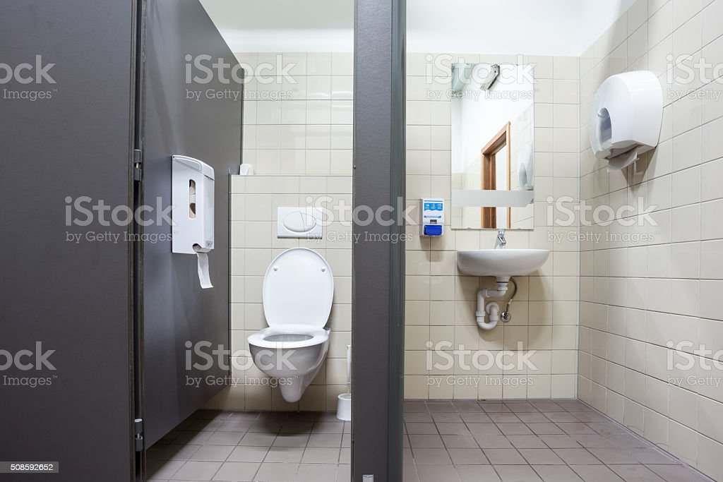 public toilet and sink stock photo