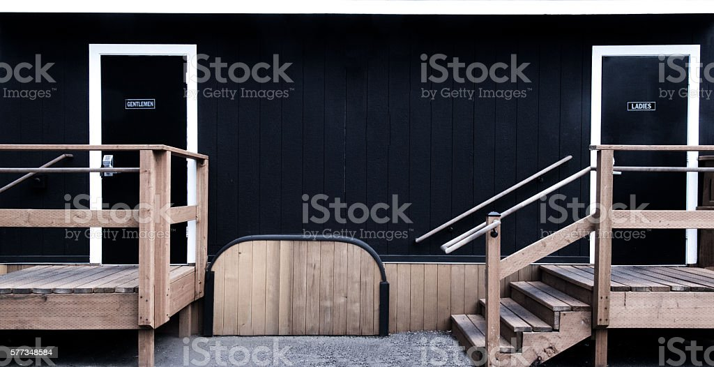 Public Toilet in Trailer, Temporary Toilet, Restroom, No People 3XL stock photo