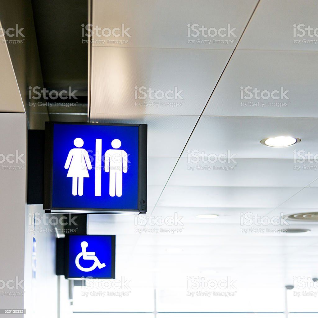 Public toilet signs stock photo