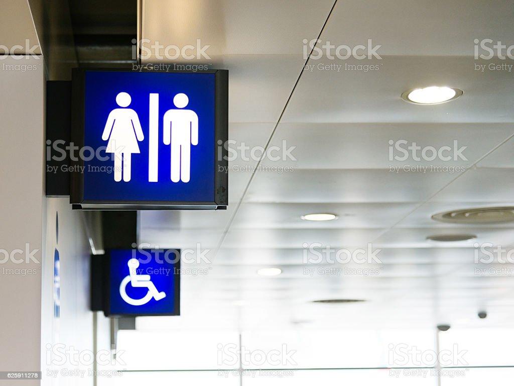 Public toilet signs stock photo