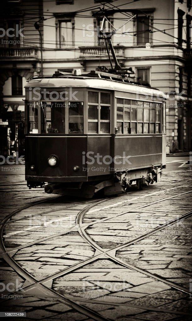 Public Tram on Milan Street, Sepia Toned royalty-free stock photo
