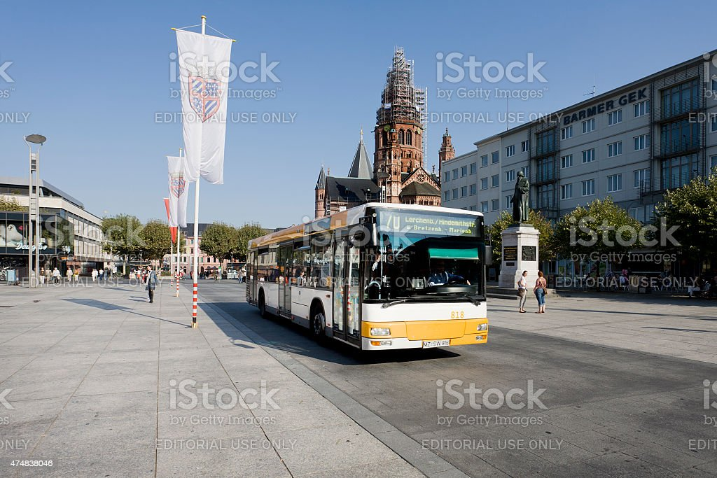 Public transport at Mainz, Gutenbergplatz stock photo