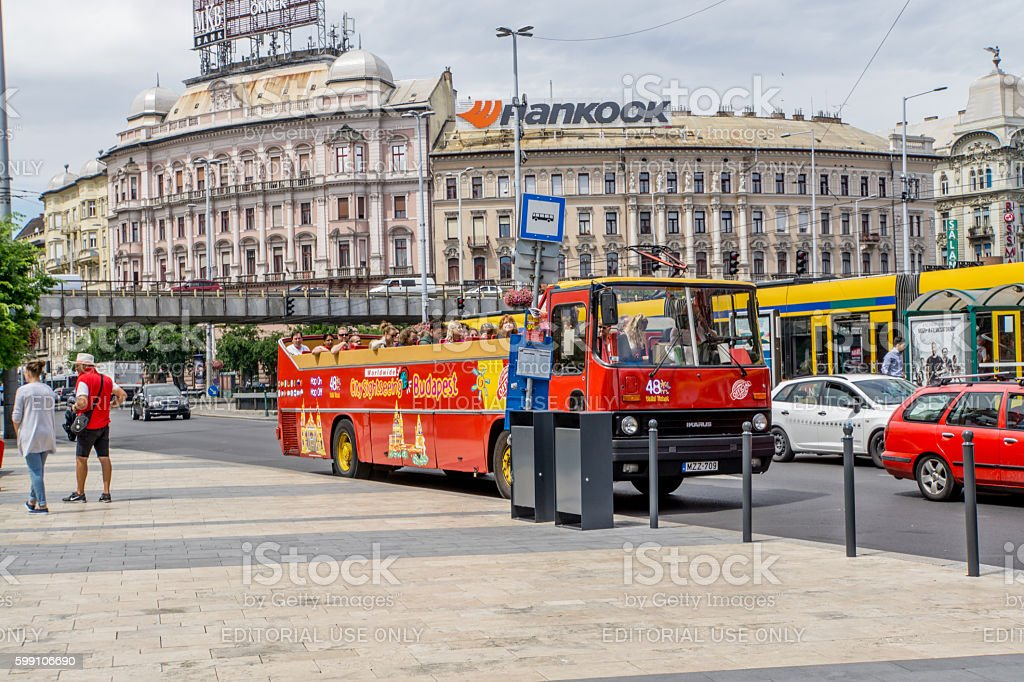 Public transport bus in central Budapest stock photo