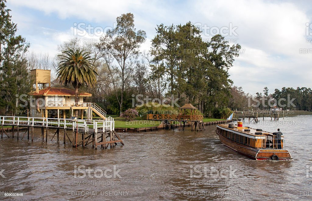 Public transport by boat in the Parana delta stock photo