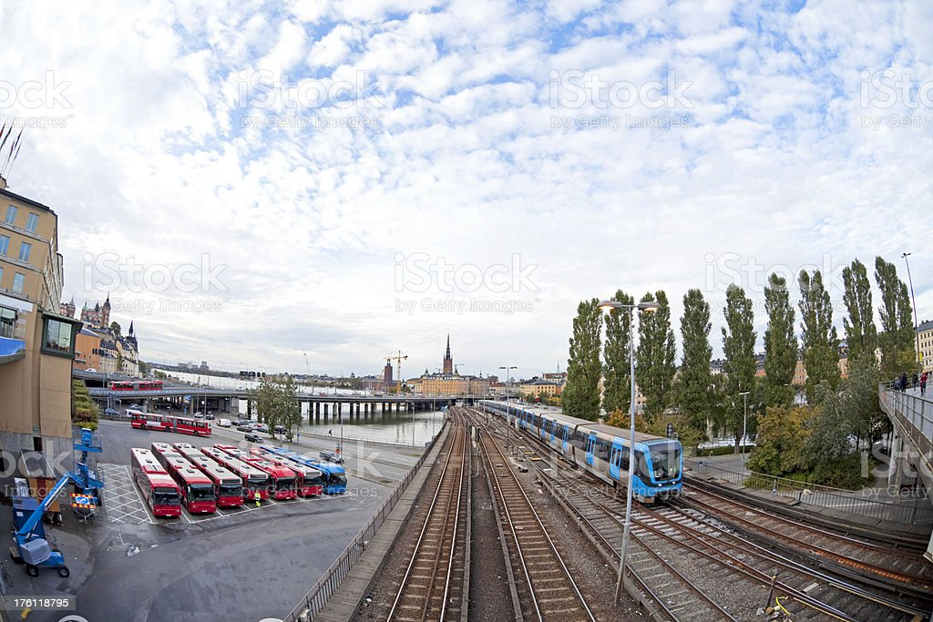 Public transport in Stockholm, subway train and buses. Fisheye view stock photo