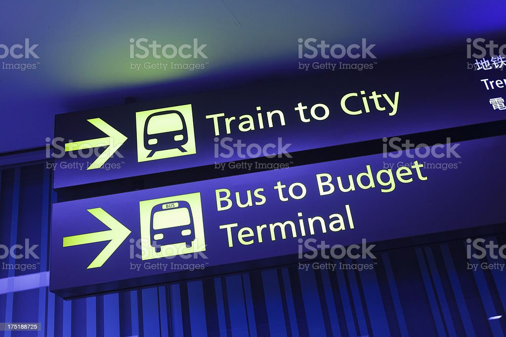 Public Transport Information Panel at the Airport stock photo