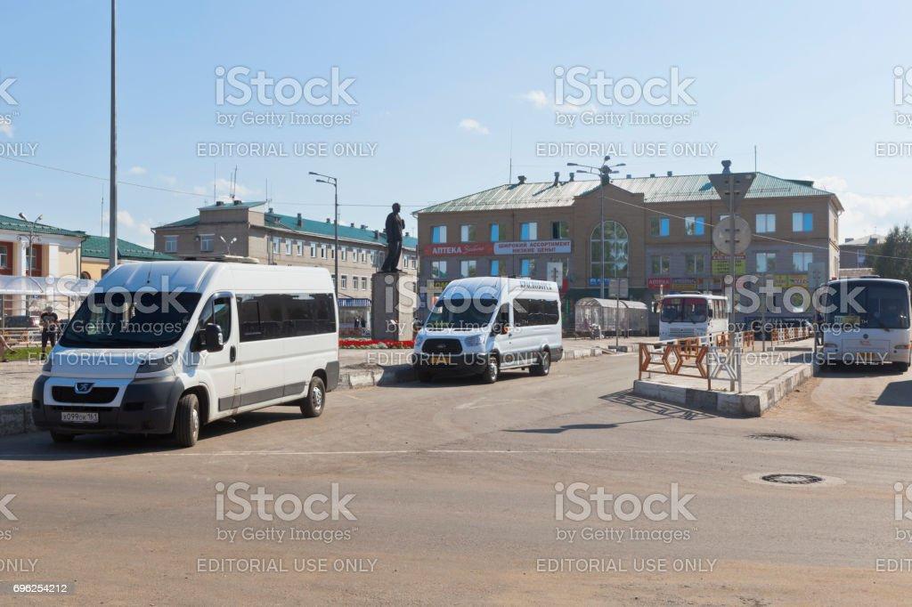 Public transport stop on the station square in Kotlas, Arkhangelsk region stock photo
