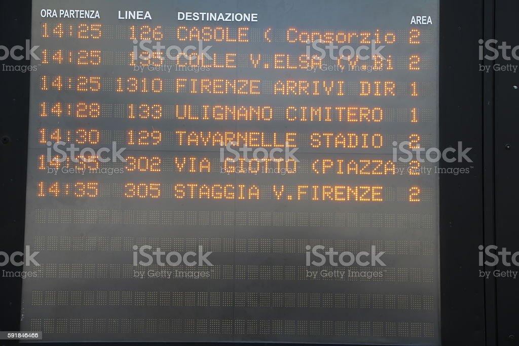Public transport timetable for buses at Poggibonsi train station, Italy stock photo