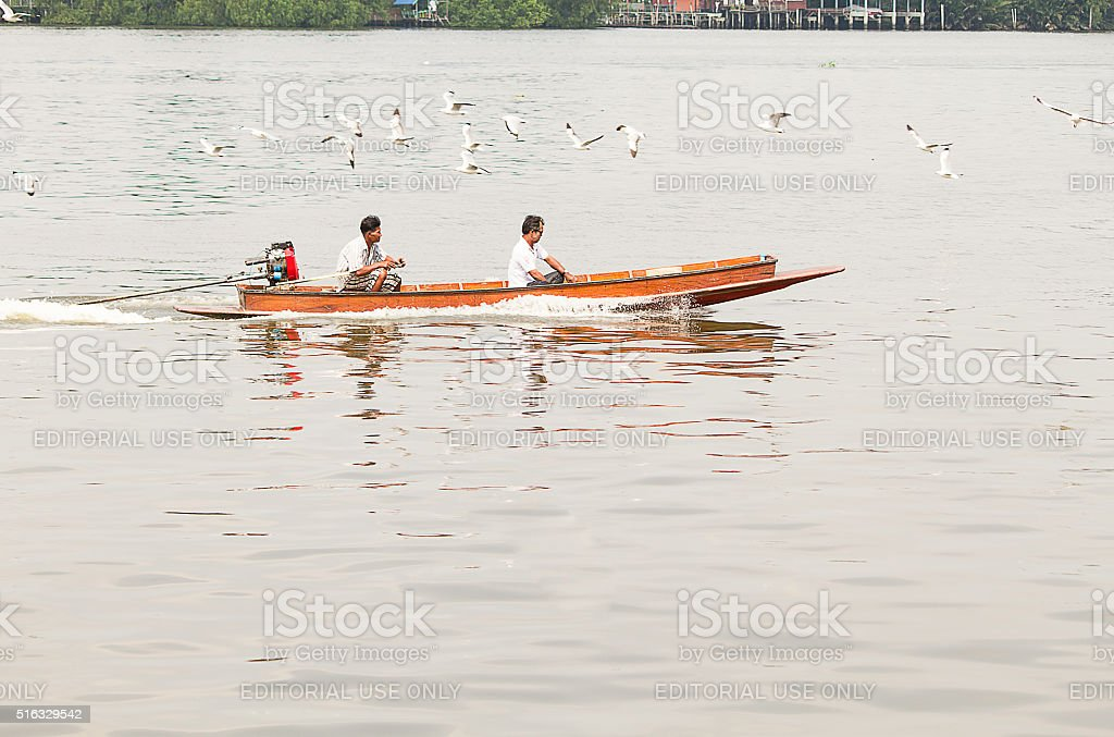 Public transportation in the Chaophraya river by boat stock photo
