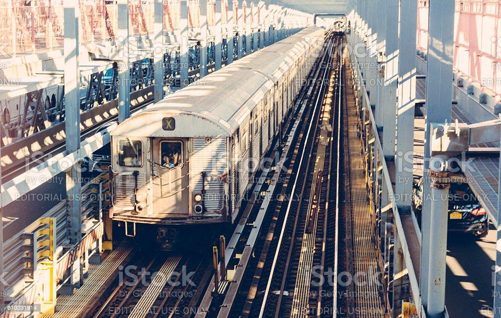 NYC Public Transportation Subway Train Driving on Train Tracks Manhattan stock photo