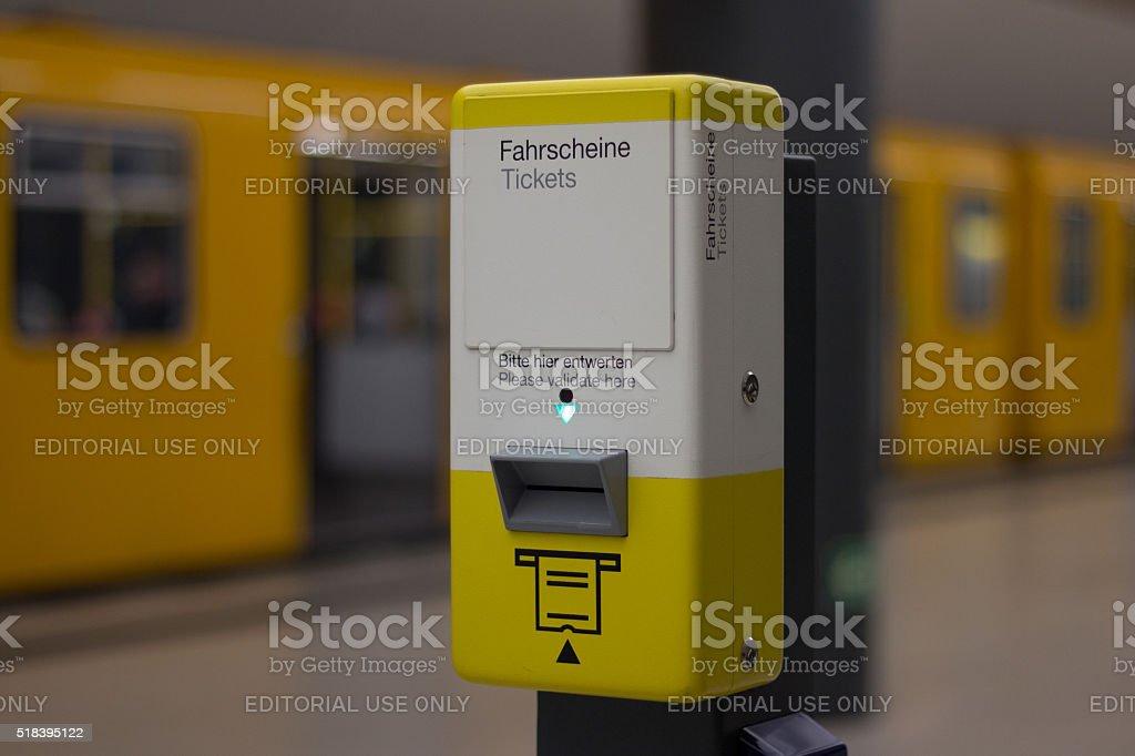 BVG / Public transportation ticket stamp machine in metro statio stock photo