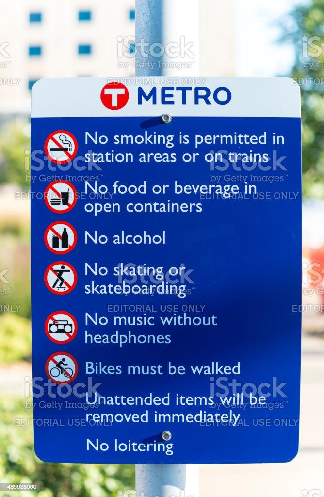 Public Transportation Warnings Sign stock photo