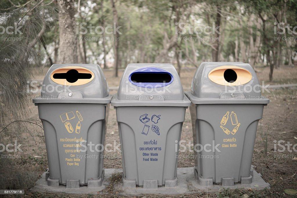public trash in park of thailand. stock photo