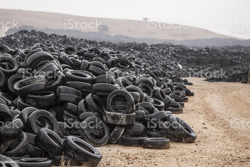 Public Trash Place of Old Tires stock photo