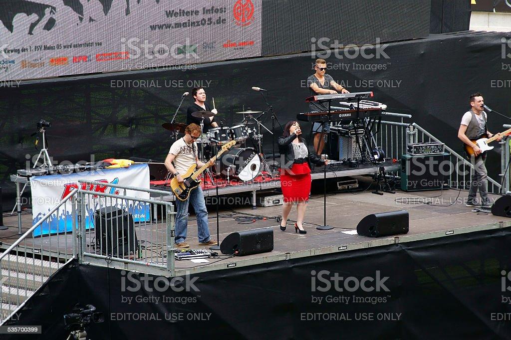 Public viewing Co Face Arena Mainz stock photo