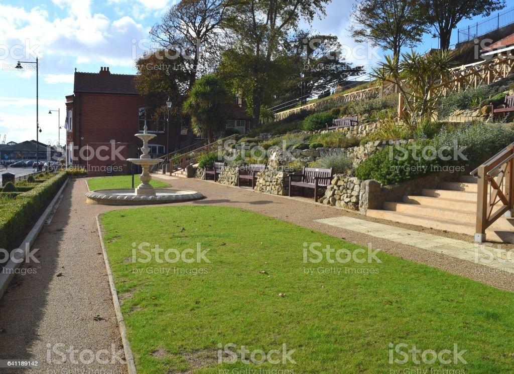 public water fountain garden area felixstowe suffolk england stock photo