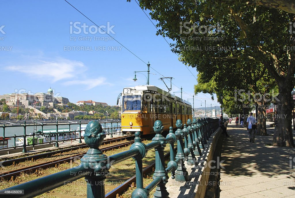 Public yellow Cable Car in Budapest royalty-free stock photo