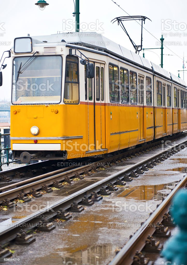 Public yellow Cable Car in Budapest stock photo