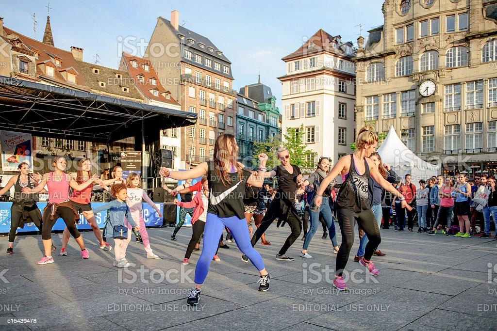 Public Zumba performance stock photo