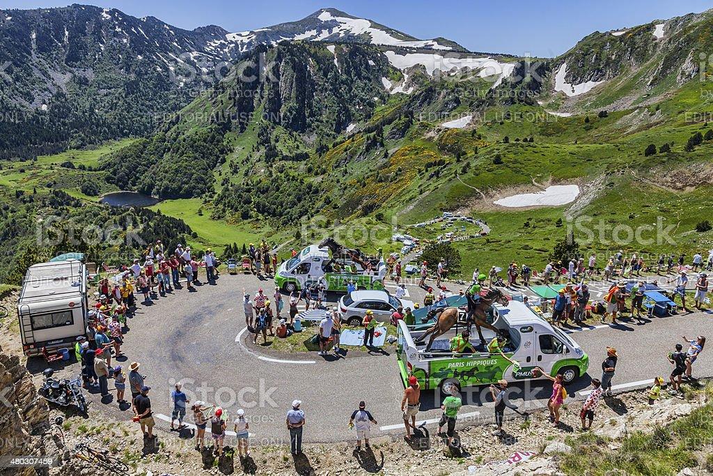 Publicity Caravan in Pyrenees Mountains stock photo