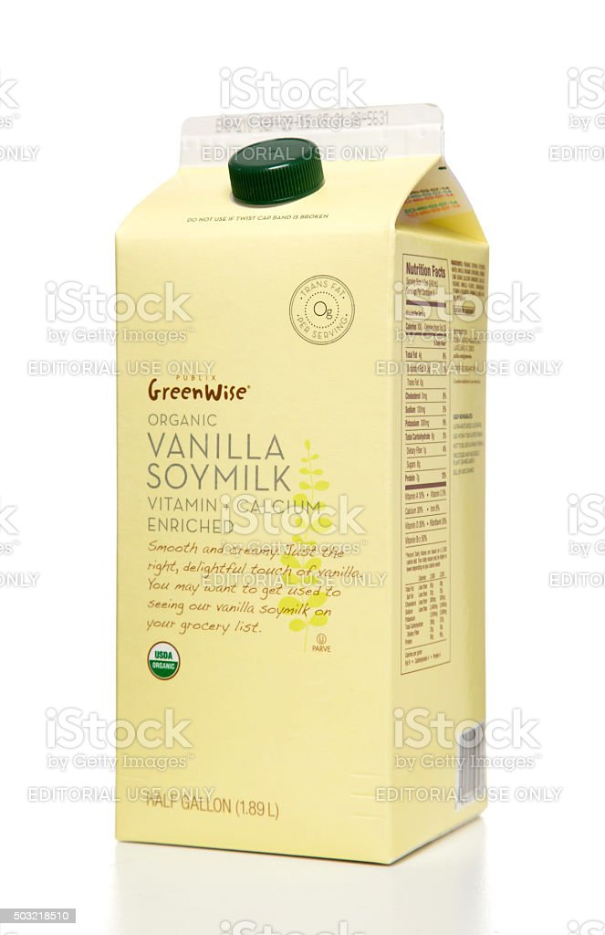Publix GreenWise organic vanilla soymilk half gallon stock photo