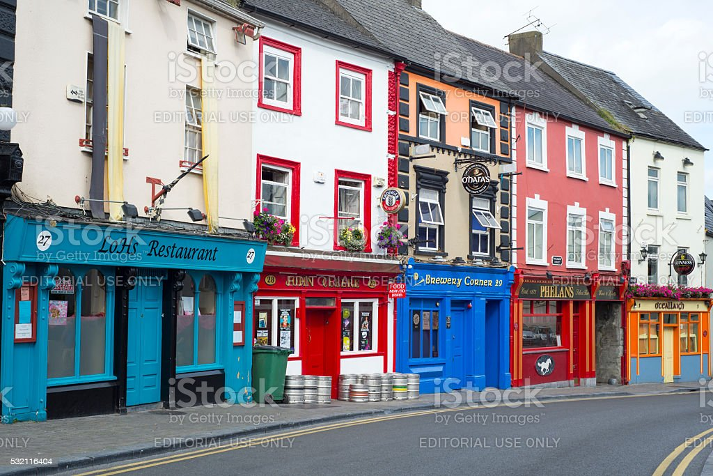 pubs and retaurant fronts in ireland stock photo