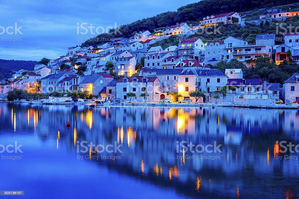 Pucisca town, island Brac, Dalmatia, Croatia stock photo