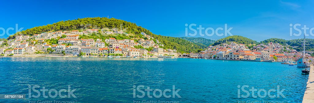 Pucisca town summer panorama. stock photo
