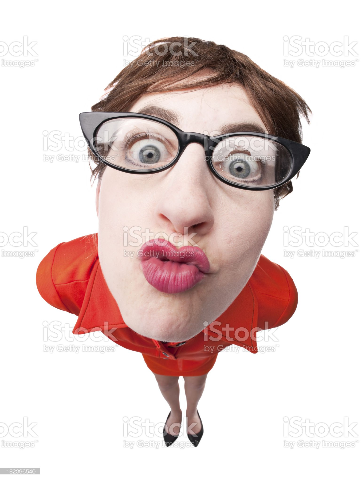 Puckering Geeky Woman royalty-free stock photo
