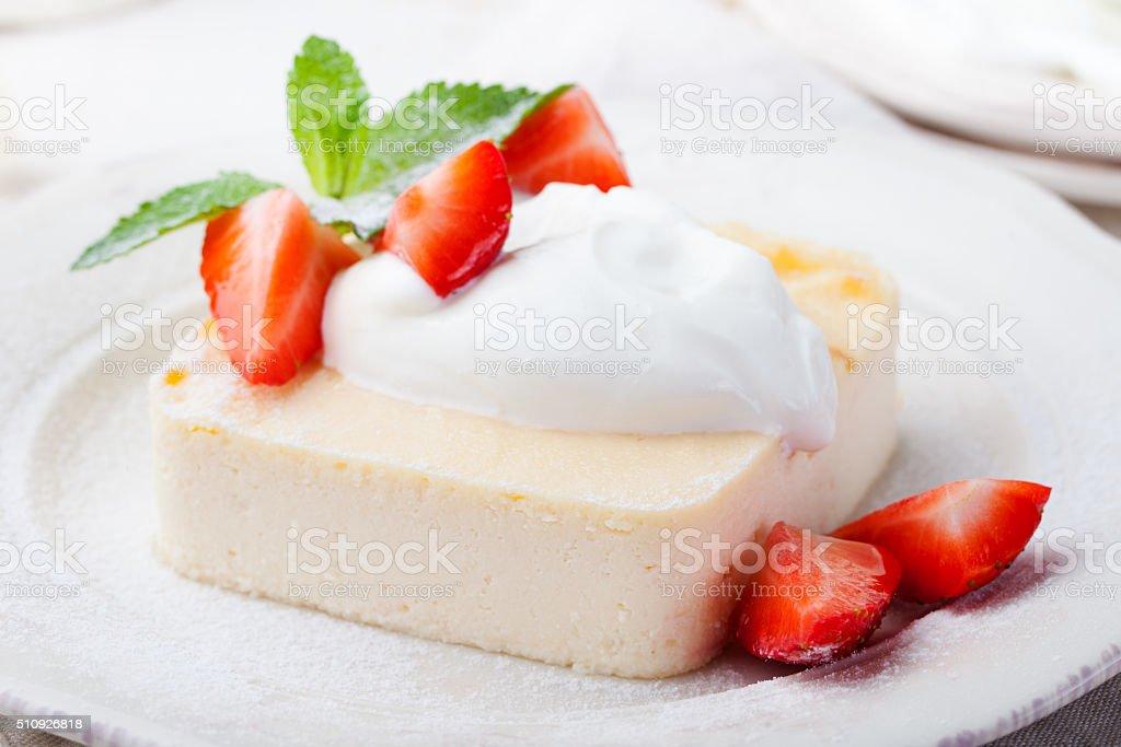 Pudding, cheesecake, custard dessert, sour cream stock photo