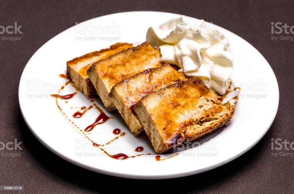 pudding cream butterfat superior diagonal nata portion stock photo