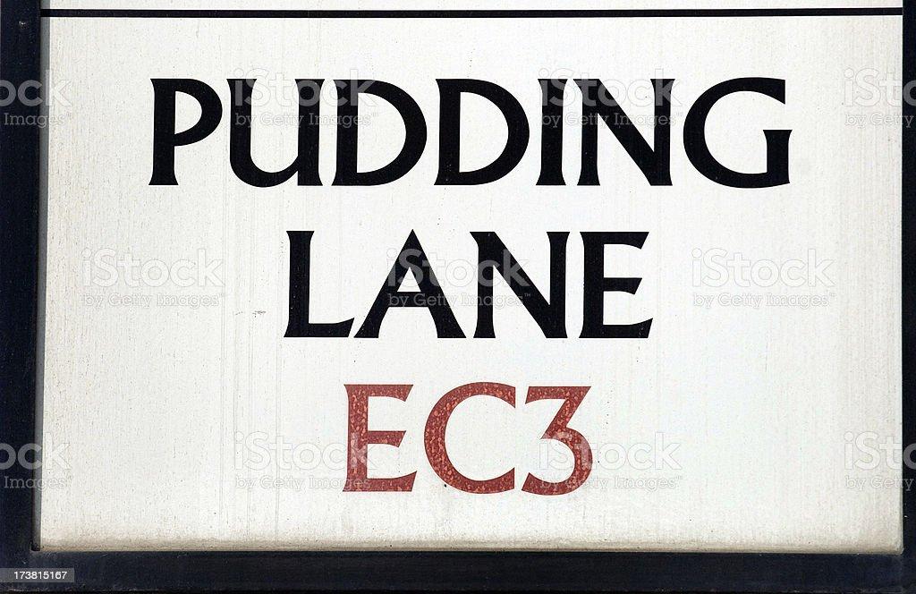 Pudding lane. London. stock photo