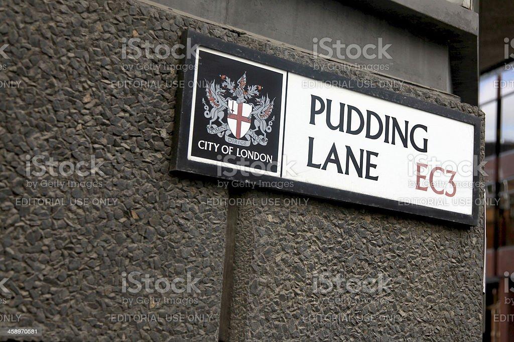 Pudding lane sign stock photo