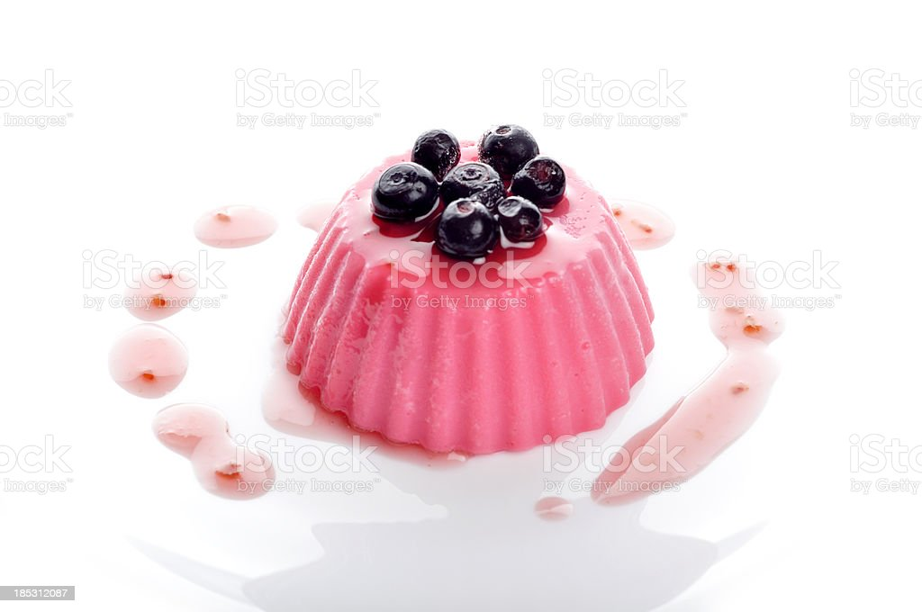 Pudding with berries and cranberries stock photo