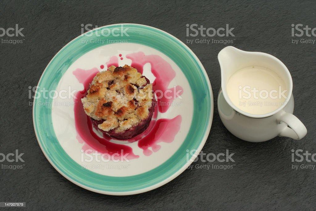 pudding with cream. stock photo