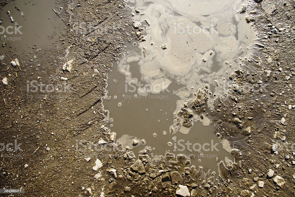 Puddle and mud texture stock photo