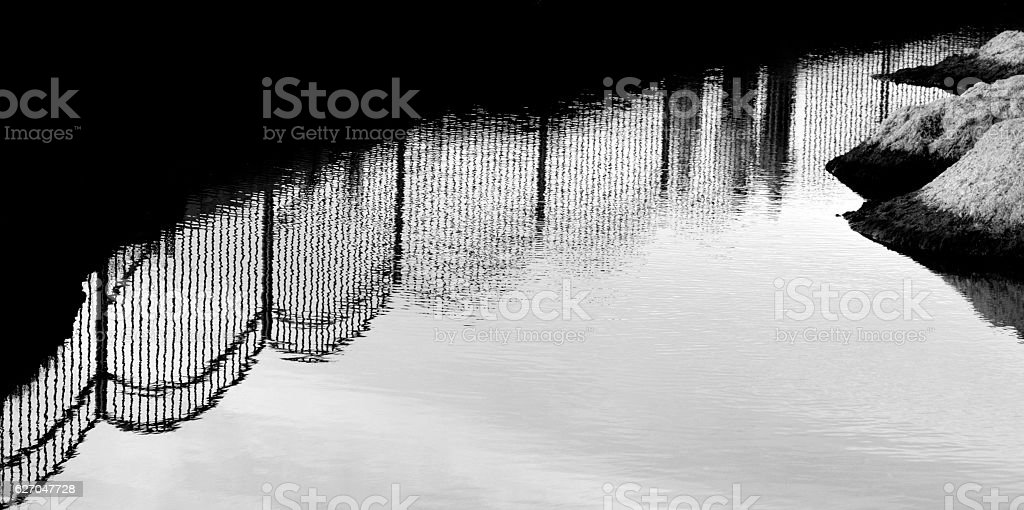 Puddle On Street During Rainy Season stock photo