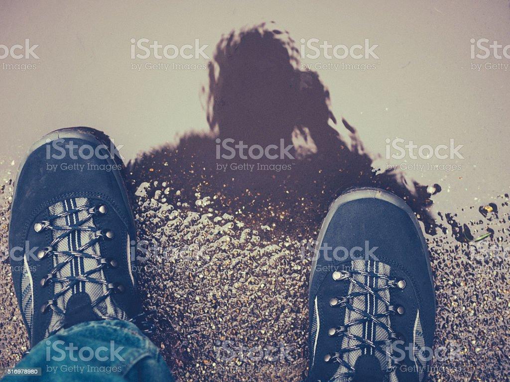 Puddle reflection stock photo
