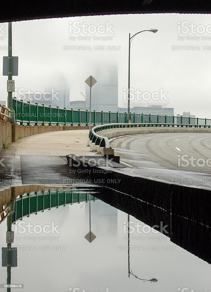 Puddle under the bridge stock photo